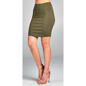 Dresses & Skirts - Olive Fitted Pencil Skirt